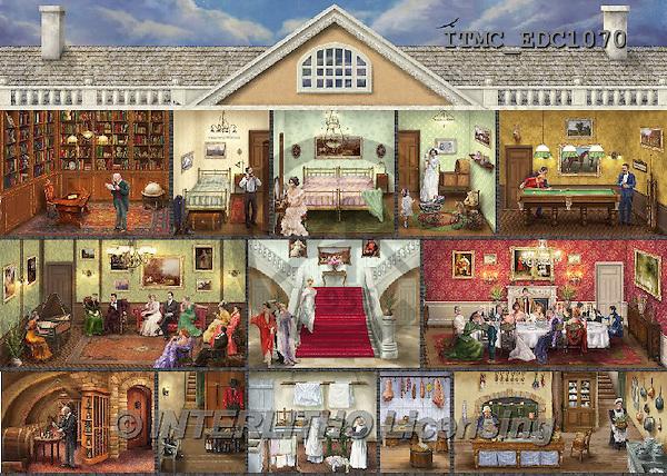 Marcello, LANDSCAPES, LANDSCHAFTEN, PAISAJES,doll house,rooms,victorian.puzzle paintings+++++,ITMCEDC1070,#L# ,puzzles