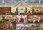 Marcello, LANDSCAPES, LANDSCHAFTEN, PAISAJES,doll house,rooms,victorian.puzzle paintings+++++,ITMCEDC1070,#L#