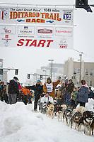 Rick Swenson leaves the 2011 Iditarod ceremonial start line in downtown Anchorage, during the 2012 Iditarod..Jim R. Kohl/Iditarodphotos.com
