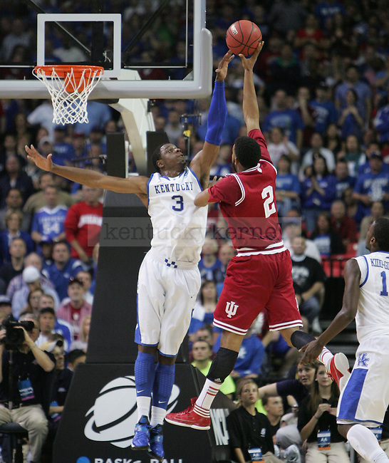 UK sophomore Terrence Jones blocks a shot during the UK vs. Indiana South Regional Semifinals at the Georgia Dome in Atlanta,  March 23, 2012. Photo by Brandon Goodwin | Staff