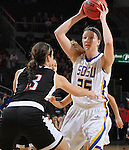 SIOUX FALLS, SD - MARCH 7:  Tiffany Flaata #35 from South Dakota State University looks for an outlet pass around Sara Echelberry #3 from Omaha during their semifinal game of the 2016 Summit League Championship Monday afternoon in Sioux Falls. (Photo by Dick Carlson/Inertia)