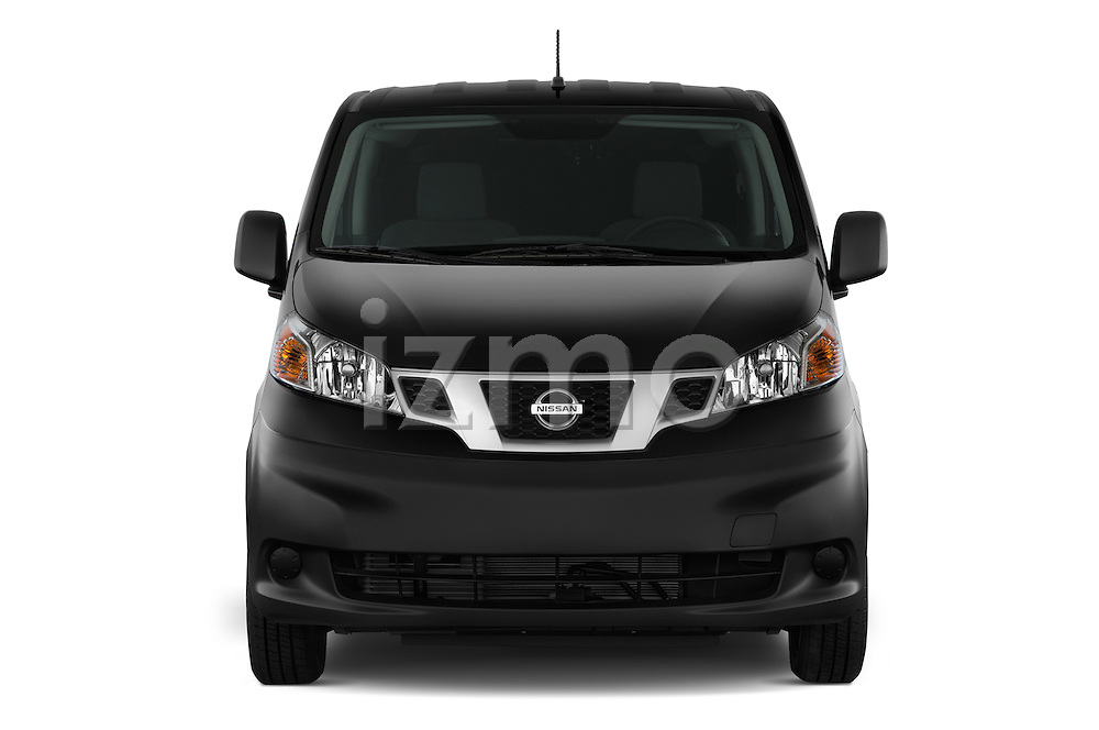 Car photography straight front view of a 2014 Nissan NV 200 Cargo S 5 Door Van Front View
