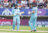 No need to run for that - Jason Roy (England) and Jonny Bairstow (England) during Australia vs England, ICC World Cup Semi-Final Cricket at Edgbaston Stadium on 11th July 2019