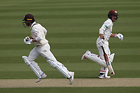 Rory Burns (R) and Mark Stoneman add to the Surrey total during Surrey CCC vs Essex CCC, Specsavers County Championship Division 1 Cricket at the Kia Oval on 11th April 2019