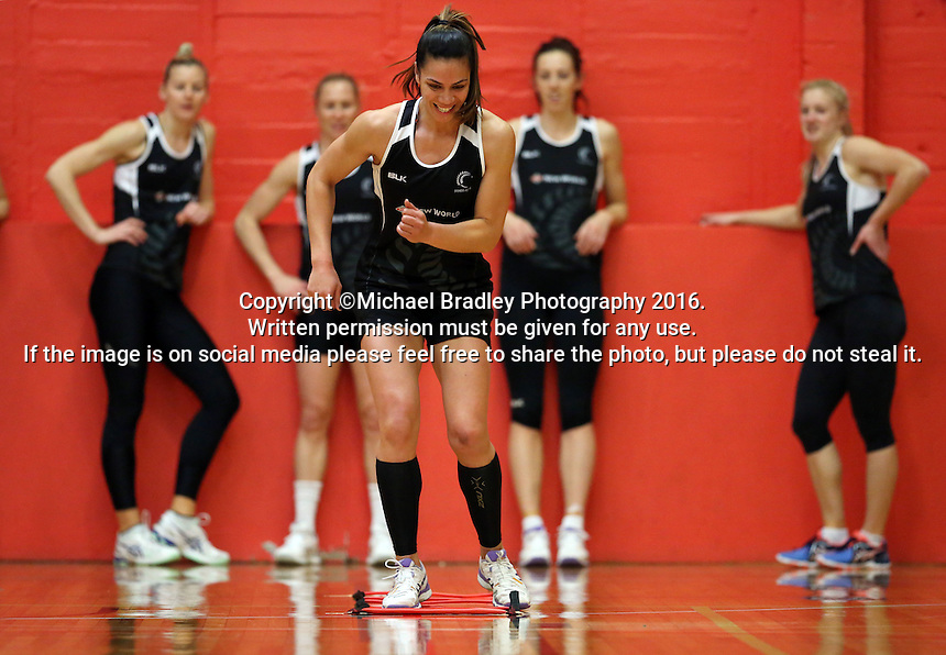 13.09.2016 Silver Ferns Grace Rasmussen in action during training ahead of their second netball match tomorrow night between the Silver Ferns and Jamaica in Palmerston North. Mandatory Photo Credit ©Michael Bradley.