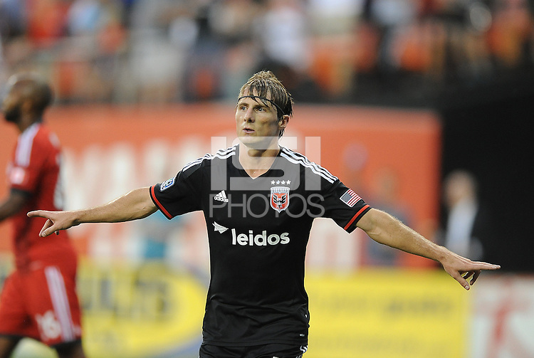 Washington D.C. - July 30, 2014: Chris Rolfe (18) of D.C. United celebrates his score.  D.C. United defeated the Toronto FC 3-1 during a Major League Soccer match for the 2014 season at RFK Stadium.