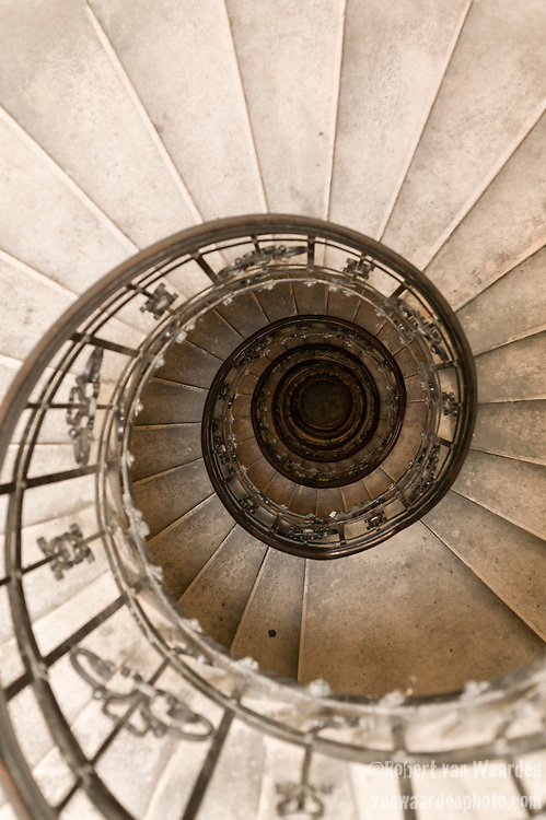 A spiral staircase in Budapest, Hungary.