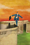 Illustrative image of businessman walking on note representing balance