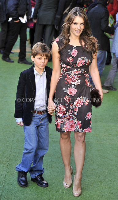 "WWW.ACEPIXS.COM . . . . .  ..... . . . . US SALES ONLY . . . . .....January 30 2011, London....Elizabeth Hurley and her son Damian at the UK film premiere of ""Gnomeo & Juliet"" at the Odeon Leicester Square on January 30 2011 in London....Please byline: FAMOUS-ACE PICTURES... . . . .  ....Ace Pictures, Inc:  ..Tel: (212) 243-8787..e-mail: info@acepixs.com..web: http://www.acepixs.com"