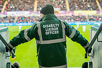 Disability Liaison Officer looks on <br /> Re: Behind the Scenes Photographs at the Liberty Stadium ahead of and during the Premier League match between Swansea City and Bournemouth at the Liberty Stadium, Swansea, Wales, UK. Saturday 25 November 2017