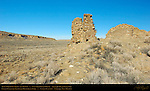 Earliest Walls and Tower, Una Vida Chacoan Great House, Anasazi Hisatsinom Ancestral Pueblo Site, Chaco Culture National Historical Park, Chaco Canyon, Nageezi, New Mexico