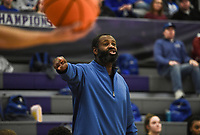 Rogers head coach Lamont Frazier reacts during a basketball game, Friday, January 10, 2020 at Fayetteville High School in Fayetteville. Check out nwaonline.com/200111Daily/ for today's photo gallery.<br /> (NWA Democrat-Gazette/Charlie Kaijo)