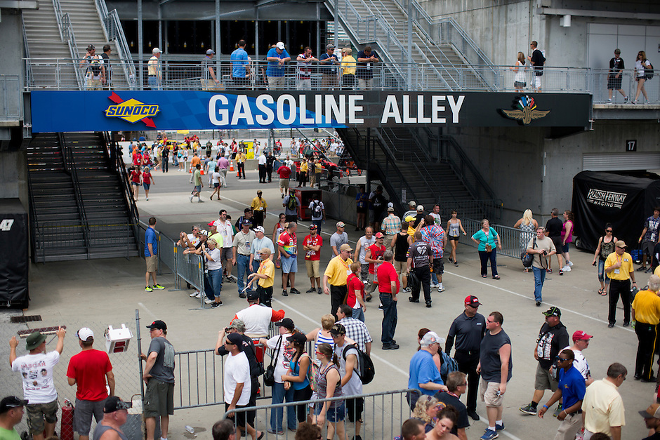 Fans make their way through Gasoline Alley before the Brickyard 400 on Sunday, July 26, 2015, at the Indianapolis Motor Speedway. (Photo by James Brosher)