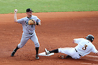 Jupiter Hammerheads second baseman Dallas Poulk #6 tuns a double play as Robbie Grossman #3 slides in during a game against the Bradenton Marauders at McKechnie Field on June 22, 2011 in Bradenton, Florida.  Bradenton defeated Jupiter 5-4.  (Mike Janes/Four Seam Images)