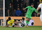 Watford's Troy Deeney scores his sides second goal through WBA's Ben Foster's legs during the Premier League match at Vicarage Road Stadium, London. Picture date: April 4th, 2017. Pic credit should read: David Klein/Sportimage