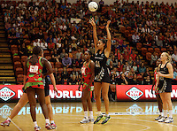 27.10.2013 Silver Fern Maria Tutaia in action during the Silver Ferns V Malawi New World Netball Series played at the Pettigrew Green Arena in Napier. Mandatory Photo Credit ©Michael Bradley.