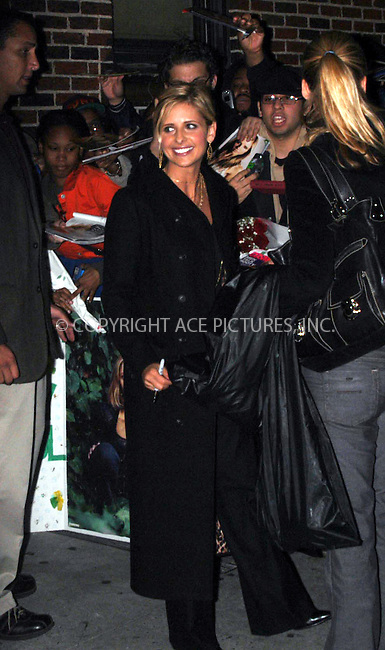 WWW.ACEPIXS.COM *** NO U.K. NEWSPAPERS SALES ***..NEW YORK, OCTOBER 20, 2004: Sarah Michelle Gellar on Letterman Show. Please byline: R. BOCKLET-ACE PICTURES.   ..  ***  ..Ace Pictures, Inc:  ..contact: Alecsey Boldeskul (646) 267-6913 ..Philip Vaughan (646) 769-0430..e-mail: info@acepixs.com