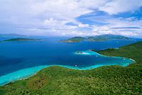 Aerial view of St John <br /> British Virgin Islands in the backround<br /> U.S. Virgin Islands