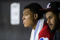 Hickory Crawdads relief pitcher Kelvin Vasquez (13) watches from the dugout after having been removed from the game against the Charleston RiverDogs at L.P. Frans Stadium on August 25, 2015 in Hickory, North Carolina.  The Crawdads defeated the RiverDogs 7-4.  (Brian Westerholt/Four Seam Images)