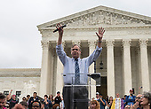 United States Senator Jeff Merkley (Democrat of Oregon) speaks at the Anti-Kavanagh protest outside the the United States Supreme Court in Washington, DC as the US Senators continue their floor statements across the street inside the US Capitol on Saturday, October 6, 2018. <br /> Credit: Ron Sachs / CNP<br /> RESTRICTION: NO New York or New Jersey Newspapers or newspapers within a 75 mile radius of New York City)