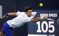 MIAMI GARDENS, FLORIDA - MARCH 24: Novak Djokovic of Serbia defeats Federico Delbonis of Argentina on Day 7 of the Miami Open Presented by Itau at Hard Rock Stadium on March 24, 2019 in Miami Gardens, Florida<br /> <br /> People: Novak Djokovic