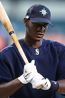 Adam Jones of the Seattle Mariners during batting practice before a game from the 2007 season at Angel Stadium in Anaheim, California. (Larry Goren/Four Seam Images)