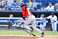 Rome Braves Bryce Ball (45) runs to first base during  game against the Asheville Tourists at McCormick Field on August 13, 2019 in Asheville, North Carolina. The Braves defeated the Tourists 13-8. (Tony Farlow/Four Seam Images)