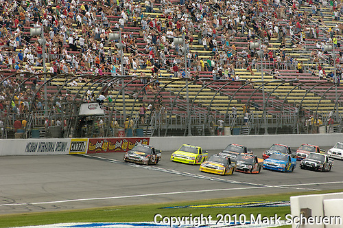 June 12 2010: The start of the NASCAR Camping World Truck Series VFW 200 race at Michigan International Speedway, Brooklyn, Michigan