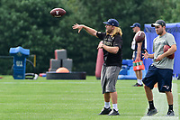 August 2, 2017: New England Patriots safeties coach Steve Belichick throws a pass at the New England Patriots training camp held at Gillette Stadium, in Foxborough, Massachusetts. Eric Canha/CSM