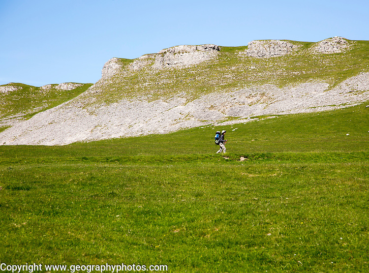 Great Hill Scar, scar and scree slope, carboniferous limestone, Yorkshire Dales national park, England, UK