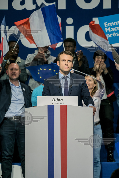 Emmanuel Macron speaks to supporters during a rally in Dijon on the campaign trail for the 2017 presidential election.