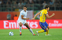 Shannon Boxx of team USA and Linda Forsberg of team Sweden during the FIFA Women's World Cup at the FIFA Stadium in Wolfsburg, Germany on July 6thd, 2011.