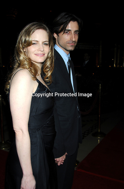 """Jennifer Jason Leigh and husband Noah Baumbach, Best Screenplay winner for """"The Squid and The Whale""""..at the 2005 New York Film Critics Circle 71st Annual Awards Dinner on January 8, 2006 at Ciprianis 42nd Street...Photo by Robin Platzer, Twin Images"""