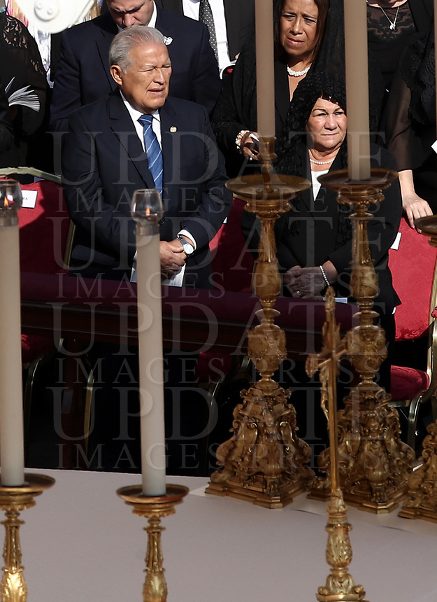 El Salvador President Salvador Sanchez Cheren attends a canonization mass in St. Peter's Square at the Vatican, on October 14, 2018.<br /> UPDATE IMAGES PRESS/Isabella Bonotto<br /> <br /> STRICTLY ONLY FOR EDITORIAL USE