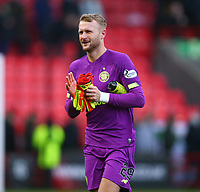 9th February 2020; Broadwood Stadium, Cumbernauld, North Lanarkshire, Scotland; Scottish Cup Football, Clyde versus Celtic; Scott Bain of Celtic applauds the supporters after the match