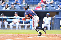 Rome Braves third baseman Yeudi Grullon (9) swings at a pitch during a game against the Asheville Tourists at McCormick Field on May 22, 2017 in Asheville, North Carolina. The Braves defeated the Tourists 7-3. (Tony Farlow/Four Seam Images)