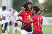 Angel Gomes (No 11) celebrates scoring Manchester United U23's opening goal with Tahith Chong during Fulham Under-23 vs Manchester United Under-23, Premier League 2 Football at Motspur Park on 10th August 2018