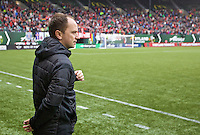 Portland, Oregon - Saturday May 21, 2016: The Portland Thorns head coach Mark Parsons during a regular season NWSL match at Providence Park. The Thorns won 4-1.