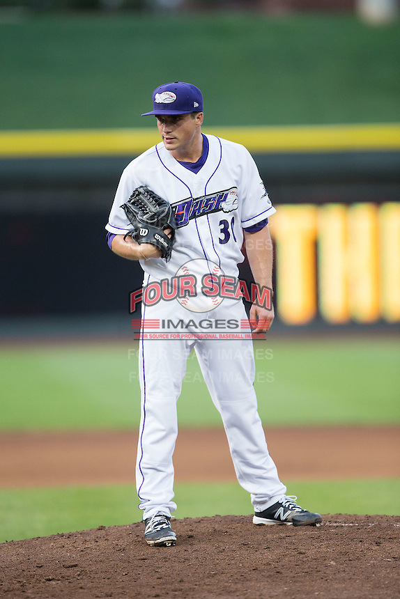 Winston-Salem Dash starting pitcher Blair Walters (30) looks to his catcher for the sign against the Myrtle Beach Pelicans at BB&T Ballpark on May 2, 2016 in Winston-Salem, North Carolina.  The Pelicans defeated the Dash 3-2 in 11 innings.  (Brian Westerholt/Four Seam Images)