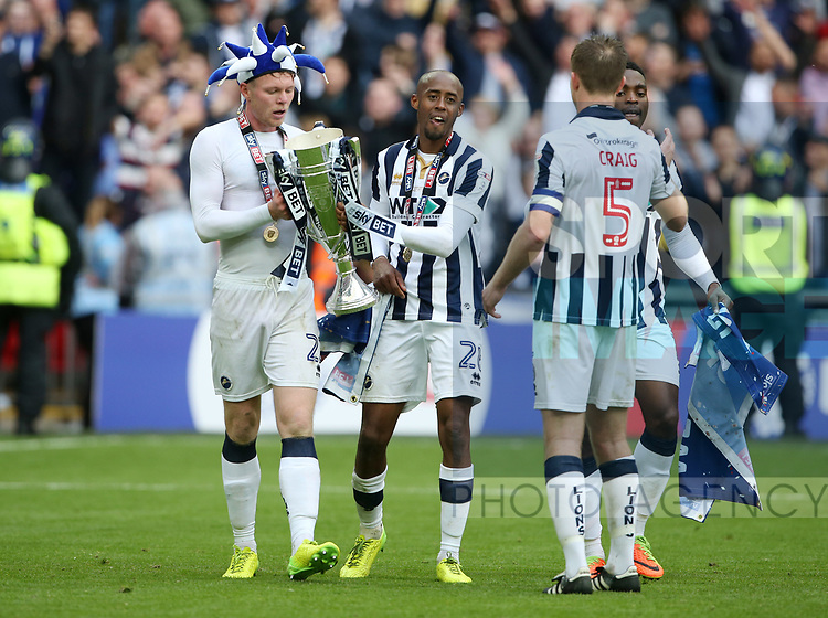 Millwall's Aiden O'Brien and Nadjim Abdou celebrate with the trophy during the League One Play-Off Final match at Wembley Stadium, London. Picture date: May 20th, 2017. Pic credit should read: David Klein/Sportimage