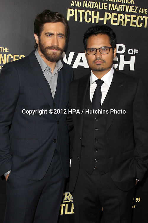 "LOS ANGELES - SEP 17:  Jake Gyllenhaal, Michael Pena arrives at the ""End Of Watch"" Premiere at Regal Cinemas L.A. Live on September 17, 2012 in Los Angeles, CA"