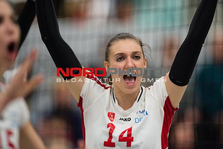 21.02.2015, Halle Berg Fidel, Muenster<br /> Volleyball, Bundesliga Frauen, USC M&uuml;Ÿnster / Muenster vs. Rote Raben Vilsbiburg<br /> <br /> Jubel Lena Stigrot (#14 Vilsbiburg)<br /> <br />   Foto &copy; nordphoto / Kurth