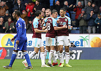 Burnley's Dwight McNeil (right) celebrates with team-mates after scoring his side's equalising goal to make the score 1-1<br /> <br /> Photographer Rich Linley/CameraSport<br /> <br /> The Premier League - Burnley v Leicester City - Saturday 16th March 2019 - Turf Moor - Burnley<br /> <br /> World Copyright © 2019 CameraSport. All rights reserved. 43 Linden Ave. Countesthorpe. Leicester. England. LE8 5PG - Tel: +44 (0) 116 277 4147 - admin@camerasport.com - www.camerasport.com