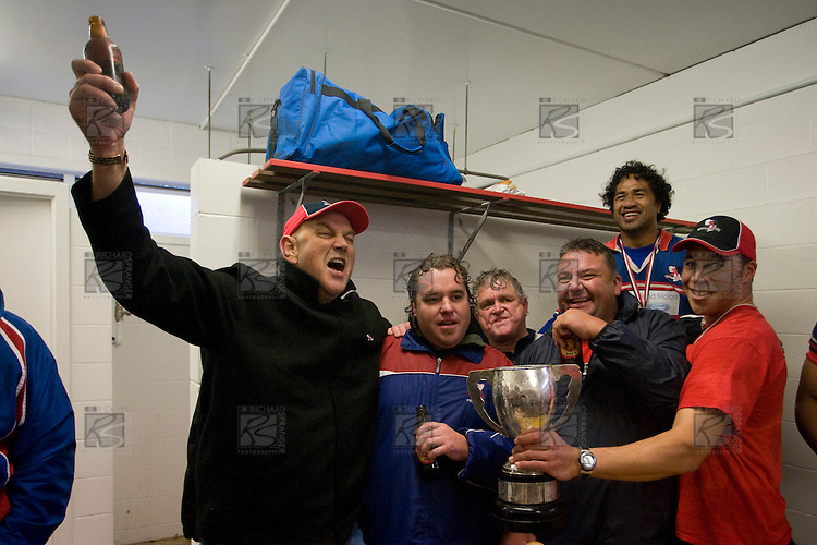Members of the Ardmore Marist coaching staff celebrate with the McNamara cup. CMRFU Counties Power 2008 Club rugby McNamara Cup Premier final between Ardmore Marist & Patumahoe played at Growers Stadium, Pukekohe on July 26th.  Ardmore Marist won 9 - 8.