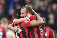2nd November 2019; Vitality Stadium, Bournemouth, Dorset, England; English Premier League Football, Bournemouth Athletic versus Manchester United; Steve Cook and Nathan Ake of Bournemouth embrace at the end of the match after wining 1-0 - Strictly Editorial Use Only. No use with unauthorized audio, video, data, fixture lists, club/league logos or 'live' services. Online in-match use limited to 120 images, no video emulation. No use in betting, games or single club/league/player publications