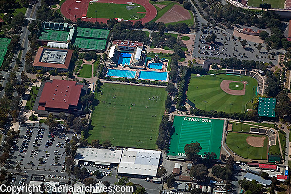 aerial photograph sports complex Stanford University