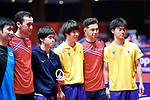 (L to R) <br />   Takashi Watanabe, <br />  Masataka Morizono, <br /> Kenta Matsudaira, <br />  Masaki Yoshida (JPN), <br /> AUGUST 27, 2018 - Table Tennis : <br /> Men's Team Preliminary Round <br /> at JIExpo Kemayoran Hall B <br /> during the 2018 Jakarta Palembang Asian Games <br /> in Jakarta, Indonesia. <br /> (Photo by Naoki Morita/AFLO SPORT)