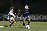 WINSTON-SALEM, NC - NOVEMBER 10: Georgetown's Elizabeth Wenger (right) and Wake Forest's Estelle Laurier (FRA) (left). The Wake Forest University Demon Deacons hosted the Georgetown University Hoyas on November 10, 2017 at W. Dennie Spry Soccer Stadium in Winston-Salem, NC in an NCAA Division I Women's Soccer Tournament First Round game. Wake Forest advanced 2-1 on penalty kicks after the game ended in a 0-0 tie after overtime.