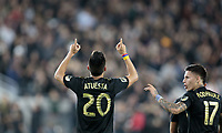 LOS ANGELES, CA - OCTOBER 29: Eduard Atuesta #20 of Los Angeles FC celebrates his LAFC goal during a game between Seattle Sounders FC and Los Angeles FC at Banc of California Stadium on October 29, 2019 in Los Angeles, California.