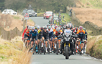 Picture by Allan McKenzie/SWpix.com - 15/04/18 - Cycling - HSBC UK British Cycling Spring Cup Road Series - Chorley Grand Prix 2018 - Chorley, England - The peloton climbs the hilss around Chorley.